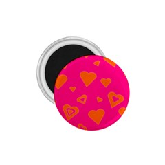 Hot Pink And Orange Hearts By Khoncepts Com 1 75  Button Magnet