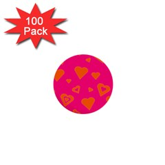 Hot Pink And Orange Hearts By Khoncepts Com 1  Mini Button (100 pack)