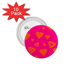 Hot Pink And Orange Hearts By Khoncepts Com 1 75  Button (10 Pack)