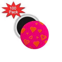 Hot Pink And Orange Hearts By Khoncepts Com 1.75  Button Magnet (100 pack)