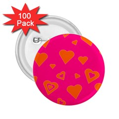 Hot Pink And Orange Hearts By Khoncepts Com 2.25  Button (100 pack)