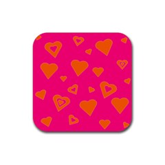 Hot Pink And Orange Hearts By Khoncepts Com Drink Coaster (square)