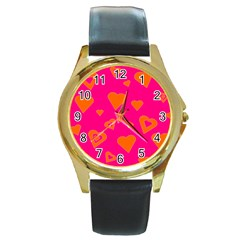 Hot Pink And Orange Hearts By Khoncepts Com Round Leather Watch (gold Rim)