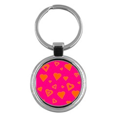 Hot Pink And Orange Hearts By Khoncepts Com Key Chain (Round)