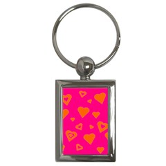 Hot Pink And Orange Hearts By Khoncepts Com Key Chain (Rectangle)