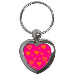 Hot Pink And Orange Hearts By Khoncepts Com Key Chain (Heart)