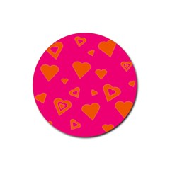 Hot Pink And Orange Hearts By Khoncepts Com Drink Coaster (Round)