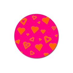 Hot Pink And Orange Hearts By Khoncepts Com Magnet 3  (Round)