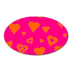 Hot Pink And Orange Hearts By Khoncepts Com Magnet (Oval)