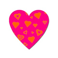 Hot Pink And Orange Hearts By Khoncepts Com Magnet (Heart)