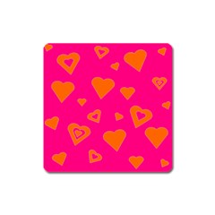 Hot Pink And Orange Hearts By Khoncepts Com Magnet (Square)