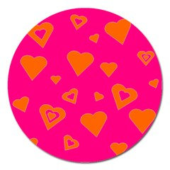 Hot Pink And Orange Hearts By Khoncepts Com Magnet 5  (Round)