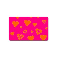 Hot Pink And Orange Hearts By Khoncepts Com Magnet (Name Card)