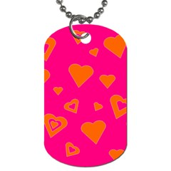 Hot Pink And Orange Hearts By Khoncepts Com Dog Tag (One Sided)