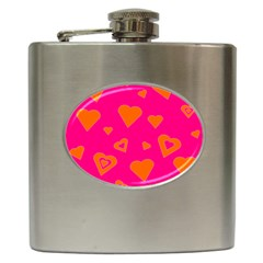 Hot Pink And Orange Hearts By Khoncepts Com Hip Flask