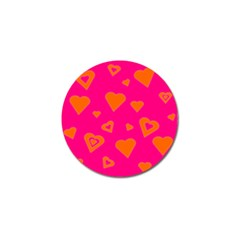 Hot Pink And Orange Hearts By Khoncepts Com Golf Ball Marker