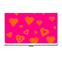 Hot Pink And Orange Hearts By Khoncepts Com Business Card Holder