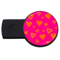 Hot Pink And Orange Hearts By Khoncepts Com 2gb Usb Flash Drive (round)