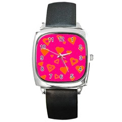 Hot Pink And Orange Hearts By Khoncepts Com Square Leather Watch
