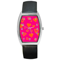 Hot Pink And Orange Hearts By Khoncepts Com Tonneau Leather Watch