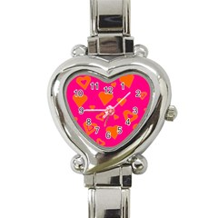 Hot Pink And Orange Hearts By Khoncepts Com Heart Italian Charm Watch