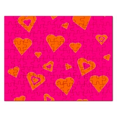 Hot Pink And Orange Hearts By Khoncepts Com Jigsaw Puzzle (rectangle)
