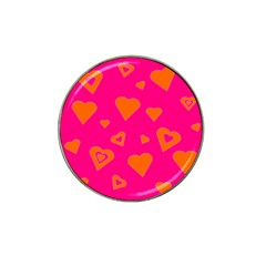 Hot Pink And Orange Hearts By Khoncepts Com Golf Ball Marker (for Hat Clip)