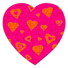 Hot Pink And Orange Hearts By Khoncepts Com Jigsaw Puzzle (Heart)