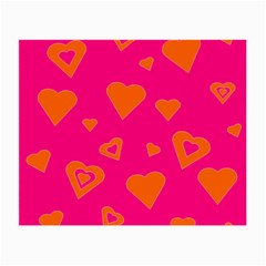 Hot Pink And Orange Hearts By Khoncepts Com Glasses Cloth (small)