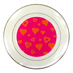 Hot Pink And Orange Hearts By Khoncepts Com Porcelain Display Plate