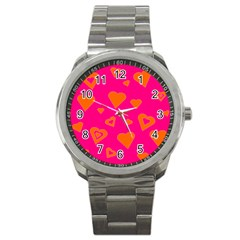 Hot Pink And Orange Hearts By Khoncepts Com Sport Metal Watch