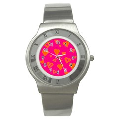 Hot Pink And Orange Hearts By Khoncepts Com Stainless Steel Watch (Slim)