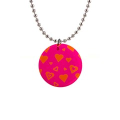 Hot Pink And Orange Hearts By Khoncepts Com Button Necklace