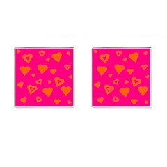 Hot Pink And Orange Hearts By Khoncepts Com Cufflinks (Square)