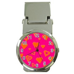 Hot Pink And Orange Hearts By Khoncepts Com Money Clip with Watch