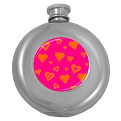 Hot Pink And Orange Hearts By Khoncepts Com Hip Flask (Round)