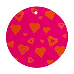 Hot Pink And Orange Hearts By Khoncepts Com Round Ornament (Two Sides)