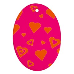 Hot Pink And Orange Hearts By Khoncepts Com Oval Ornament (Two Sides)