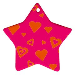 Hot Pink And Orange Hearts By Khoncepts Com Star Ornament (Two Sides)