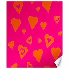 Hot Pink And Orange Hearts By Khoncepts Com Canvas 8  x 10  (Unframed)