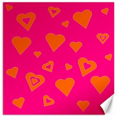 Hot Pink And Orange Hearts By Khoncepts Com Canvas 16  x 16  (Unframed)