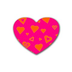 Hot Pink And Orange Hearts By Khoncepts Com Drink Coasters (heart)