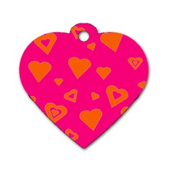 Hot Pink And Orange Hearts By Khoncepts Com Dog Tag Heart (one Sided)