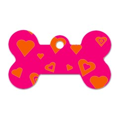 Hot Pink And Orange Hearts By Khoncepts Com Dog Tag Bone (Two Sided)