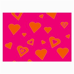 Hot Pink And Orange Hearts By Khoncepts Com Glasses Cloth (large, Two Sided)