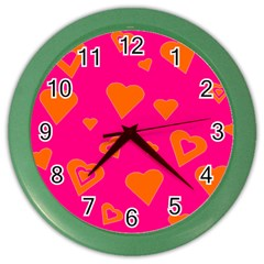 Hot Pink And Orange Hearts By Khoncepts Com Wall Clock (Color)