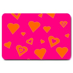 Hot Pink And Orange Hearts By Khoncepts Com Large Door Mat