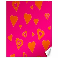 Hot Pink And Orange Hearts By Khoncepts Com Canvas 11  x 14  (Unframed)