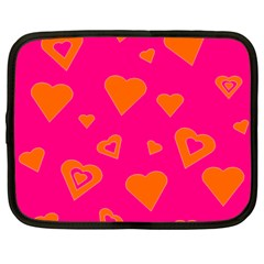 Hot Pink And Orange Hearts By Khoncepts Com Netbook Sleeve (large)