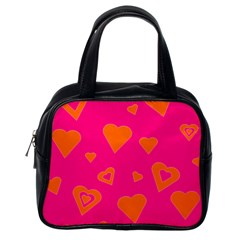 Hot Pink And Orange Hearts By Khoncepts Com Classic Handbag (One Side)